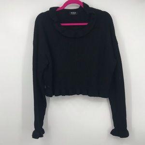 Hera Collection Black Knit Ruffle Neck Sweater 1XL